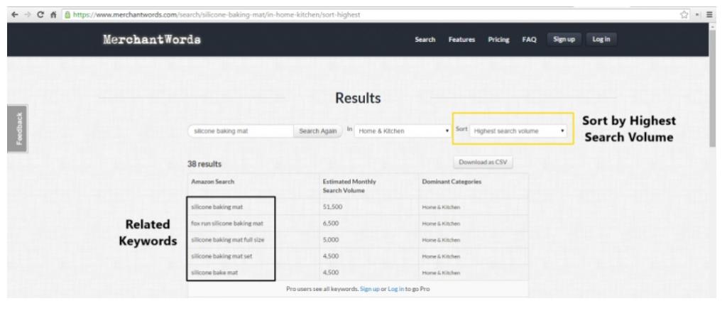 عمليات البحث الشهرية على ميرشانت وردز merchantwords.com